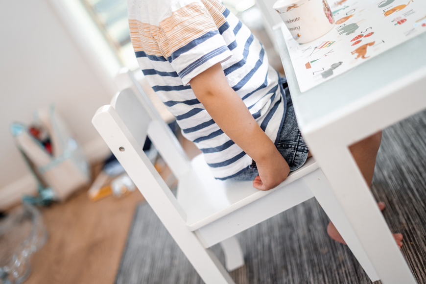 Damages for 2 year old boy restrained in a creche chair.